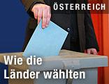 Ein Wahlzettel wird in eine Urne geworfen