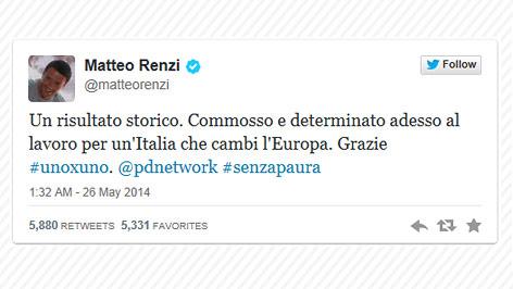 Renzis Twitter Meldung zum Wahlerfolg
