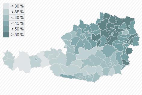 Karte zur EU Wahl: Wahlbeteiligung in Österreich