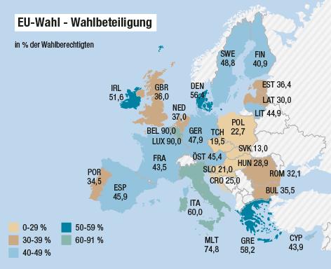 Eine Grafik zeigt die Wahlbeteiligung der EU-Wahl in den einzelnen EU-Staaten