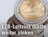 Stapel Zwei-Euro-Münzen