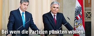 Bundeskanzler Werner Faymann (SPÖ) und Vizekanzler Michael Spindelegger (ÖVP)