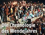Das Archivbild vom 11.11.1989 zeigt jubelnde Menschen, die mit Wunderkerzen auf der Berliner Mauer sitzen.