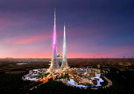 Rendering der Twintower in Wuhan