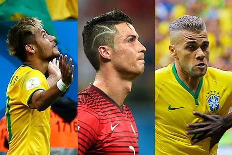 Fußballer Neymar, Cristiano Ronaldo und Dani Alves