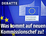 EU-Fahne und EU-Kommissionslogo