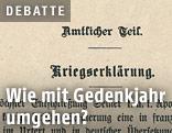 Archivbild der Kriegserklärung von 1914