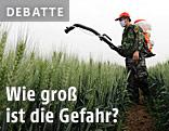 Mann versprüht im Feld Pestizide