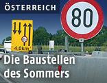 80er-Schild und Baustellenverkehr