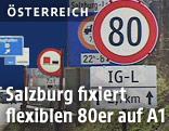 Tempo 80 auf der A1 bei Salzburg