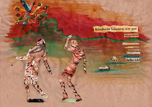 """Collage """"Kindsein können wir gut"""" von Fiona Rukschcio"""