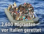 Flüchtlingsboot vor Lampedusa