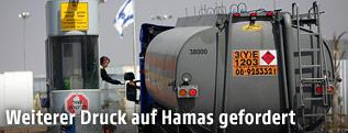 Ein israelischer Tankwagen an der Grenze zum Gazastreifen