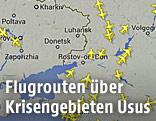 Übersichtskarte zum Flugverkehr in Europa