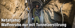 Israelischer Soldat in Tunnel