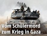 Israelische Soldaten auf einem Panzer