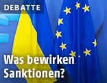 Ukrainische Fahne neben der EU-Fahne
