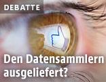"""In einem Auge spiegelt sich der Facebook-""""Like""""-Button"""