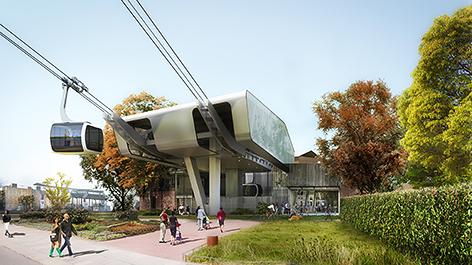 Computergeneriertes Bild der geplanten Seilbahn in Hamburg