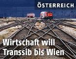Weichen und Schienen auf einem Wiener Bahnhof