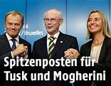 Donald Tusk, Herman van Rompuy und Federica Mogherini