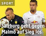 Magnus Eriksson (Malmö FF) gegen Stefan Ilsanker (Red Bull Salzburg)