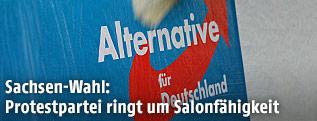 Wahlplakat mit Logo der Partei Afd
