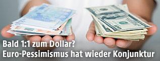 Frau hält jeweils Euro und Dollarscheine in der Hand