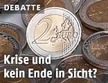 Zwei-Euro-Münzen auf einem Haufen