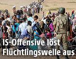 Türkische Grenzsoldaten stehen an einem Stacheldrahtzaun vor Flüchtlingen