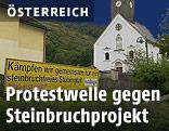 Transparent gegen Steinbruchprojekt im Stübingtal