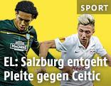 Spielszene mit Virgil van Dijk (FC Celtic Glasgow) und Kevin Kampl (FC Salzburg)