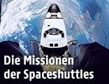 Spaceshuttle von oben mit Blick auf die Erde