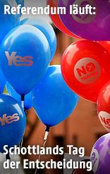 Ballons mit der Aufschrift Yes und No thanks