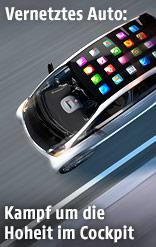 App-Symbole auf fahrendem Auto