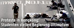 Studenten campieren auf der Straße