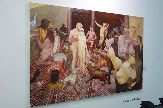 """Kunstwerk mit dem Titel """"Cancer"""" von Alexandru Radvan zeigt Hunde, nackte Frauen und Männer"""