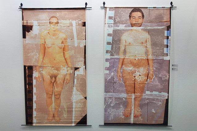 Mix aus Scherenschnitten einer nacken Frau und eines nackten Mannes