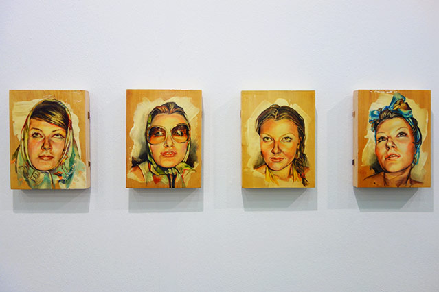 Vier Portraits einer Dame mit verschiedenen Ausdrücken