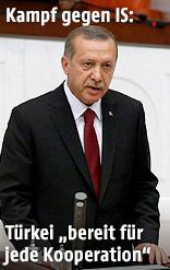 Der Türkische Präsident Tayyip Erdogan bei einer Rede im Parlament in Ankara