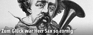 Karikatur des Saxophon-Entwicklers Adolphe Sax