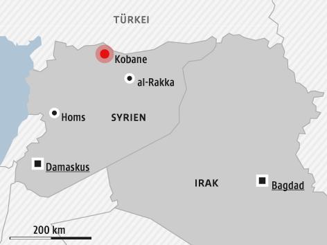 Karte von Syrien und Irak