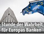 EZB-Gebäude in Frankfurt mit EU-Fahne
