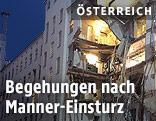 Der eingestürzte Gebäudetrakt in der Manner-Fabrik