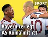 Jubel der Bayern-Spieler David Alaba und Arjen Robben