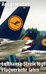 Maschinen der Lufthansa am Flughafen