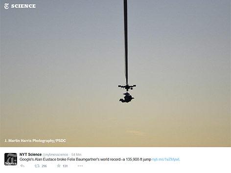 Screenshot eines Tweets der NYT Science