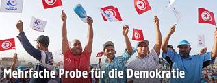 Anhänger von Rachid Ghannouchi, Spitzenkandidat der Ennahda