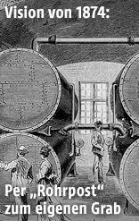 Kupferstich zeigt Menschen vor großen Transportröhren