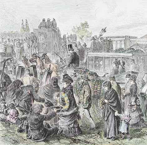 Kupferstich zeigt Menschen vor dem Zentralfriedhof am Allerseelentag